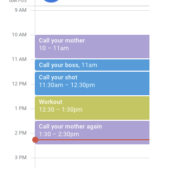 Time blocking's simplest expression, a daily overview of tasks on a calendar.